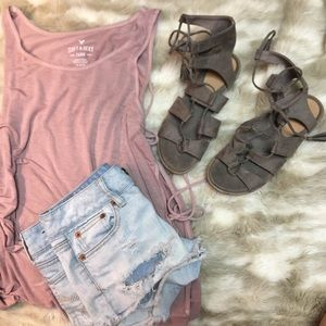 Taupe summer lace up sandals